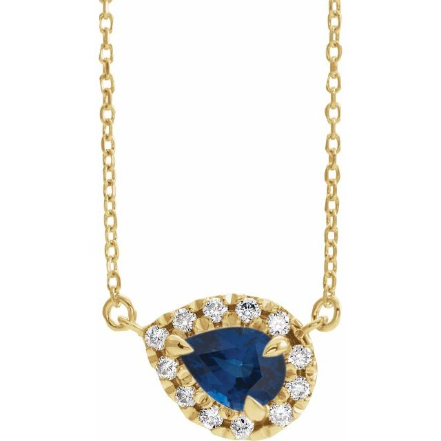 Genuine Sapphire Necklace in 14 Karat Yellow Gold 5x3 mm Pear Genuine Sapphire & 1/8 Carat Diamond 18