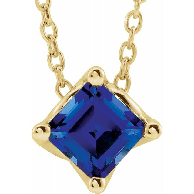 Genuine Chatham Created Sapphire Necklace in 14 Karat Yellow Gold 5x5 mm Square Chatham Lab-Created Genuine Sapphire Solitaire 16-18