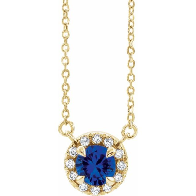 Genuine Sapphire Necklace in 14 Karat Yellow Gold 6.5 mm Round Genuine Sapphire & 1/5 Carat Diamond 16