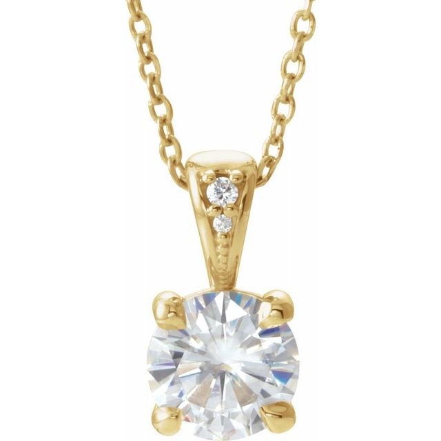Created Moissanite Necklace in 14 Karat Yellow Gold 6.5 mm Round Forever One Moissanite & .01 Carat Diamond 16-18