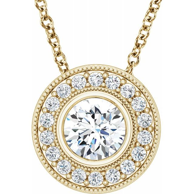 Created Moissanite Necklace in 14 Karat Yellow Gold 6.5 mm Round Forever One Moissanite & 1/3 Carat Diamond 18