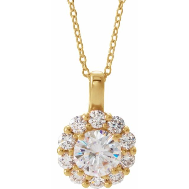 Created Moissanite Necklace in 14 Karat Yellow Gold 6.5 mm Round Forever One™ Moissanite & 5/8 Carat Diamond 16-18