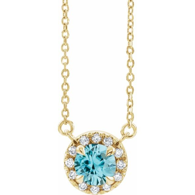 Genuine Zircon Necklace in 14 Karat Yellow Gold 6 mm Round Genuine Zircon & 1/5 Carat Diamond 16