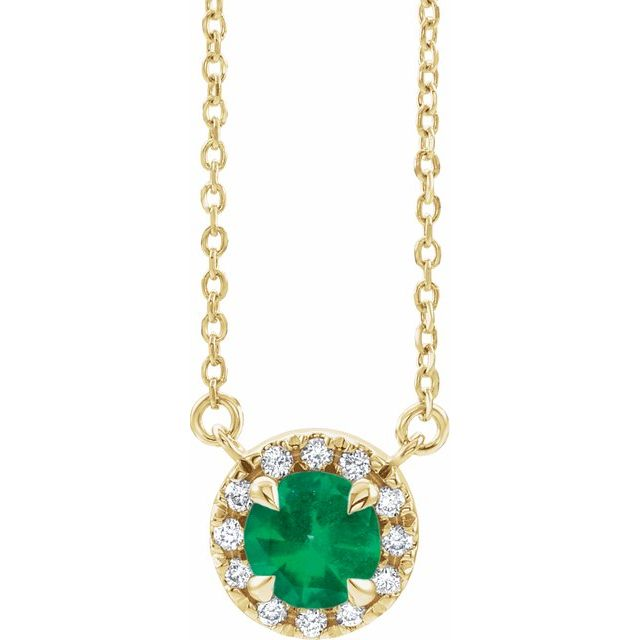 Chatham Created Emerald Necklace in 14 Karat Yellow Gold 6 mm Round Chatham Lab-Created Emerald & 1/5 Carat Diamond 16