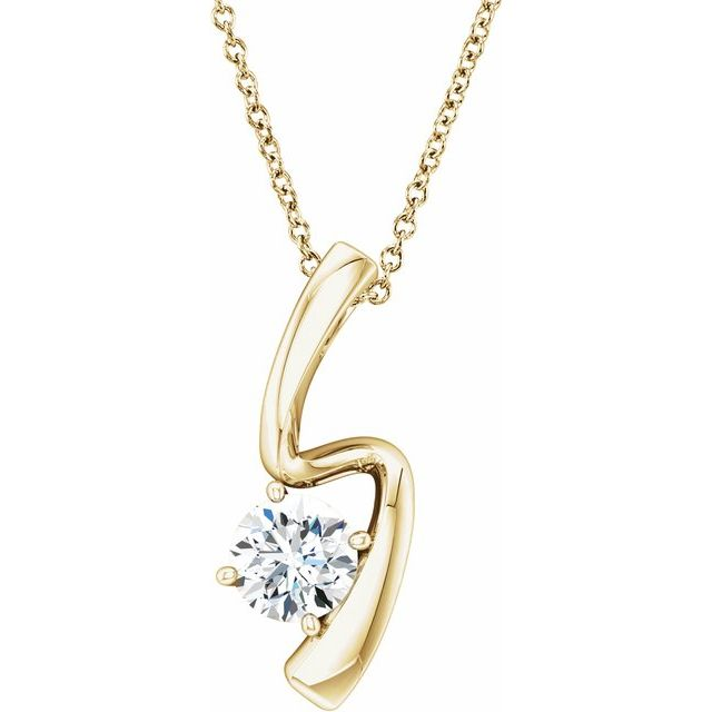 Created Moissanite Necklace in 14 Karat Yellow Gold 6 mm Round Forever One™ Moissanite 16-18