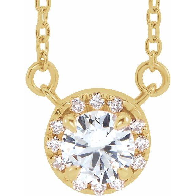 Genuine Sapphire Necklace in 14 Karat Yellow Gold 6 mm Round White Sapphire & 1/5 Carat Diamond 18