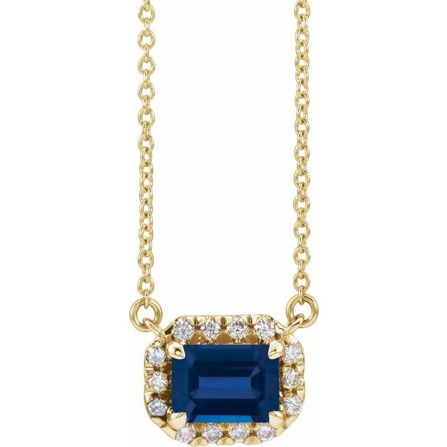 Genuine Sapphire Necklace in 14 Karat Yellow Gold 6x4 mm Emerald Genuine Sapphire & 1/5 Carat Diamond 16