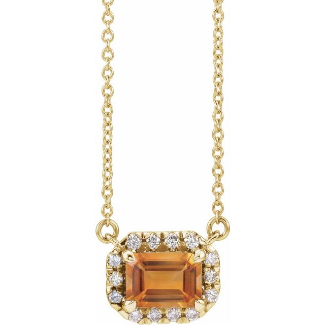 Golden Citrine Necklace in 14 Karat Yellow Gold 6x4 mm Emerald Citrine & 1/5 Carat Diamond 18