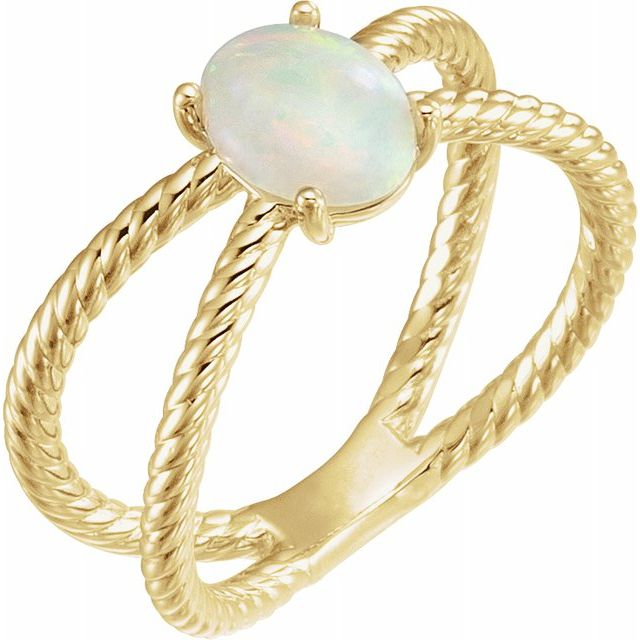 Natural Opal Ring in 14 Karat Yellow Gold 6x4 mm Opal Criss-Cross Rope Ring
