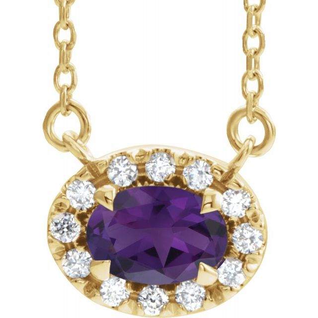 Genuine Amethyst Necklace in 14 Karat Yellow Gold 6x4 mm Oval Amethyst & 1/10 Carat Diamond 18