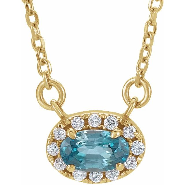 Genuine Zircon Necklace in 14 Karat Yellow Gold 6x4 mm Oval Genuine Zircon & 1/10 Carat Diamond 18