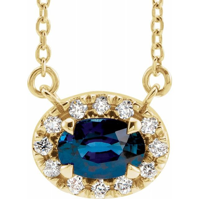 Genuine Chatham Created Sapphire Necklace in 14 Karat Yellow Gold 6x4 mm Oval Chatham Lab-Created Genuine Sapphire & 1/10 Carat Diamond 16