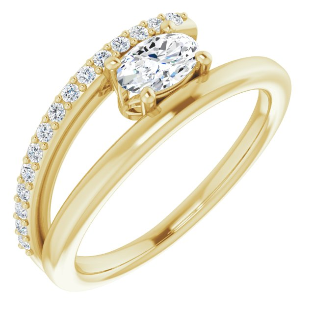 Created Moissanite Ring in 14 Karat Yellow Gold 6x4 mm Oval Forever One Moissanite & 1/8 Carat Diamond Ring