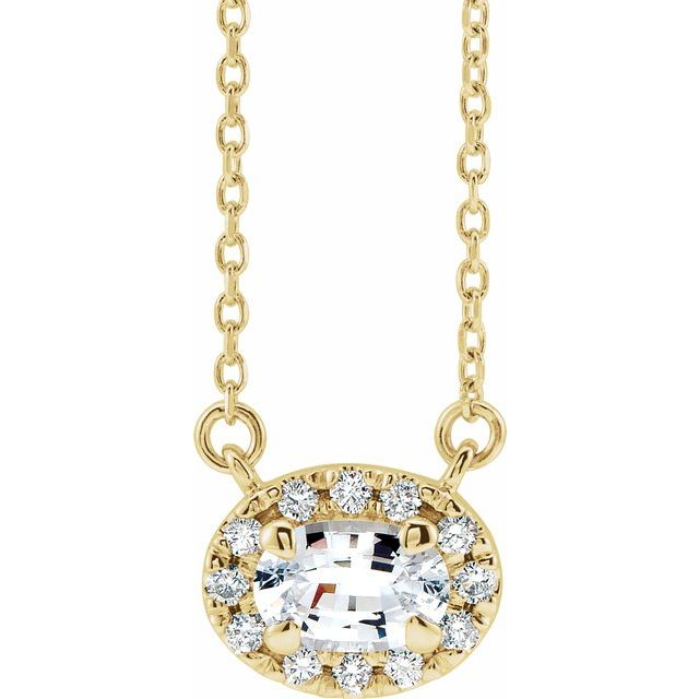 Genuine Sapphire Necklace in 14 Karat Yellow Gold 6x4 mm Oval White Sapphire & 1/10 Carat Diamond 16