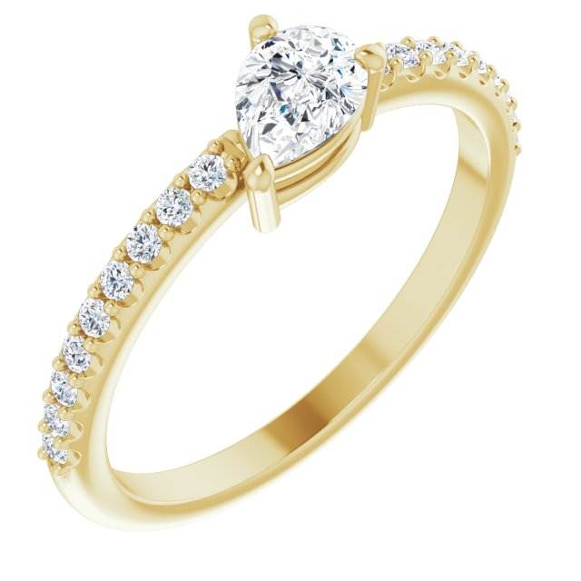 Created Moissanite Ring in 14 Karat Yellow Gold 6x4 mm Pear Forever One Moissanite & 1/6 Carat Diamond Ring
