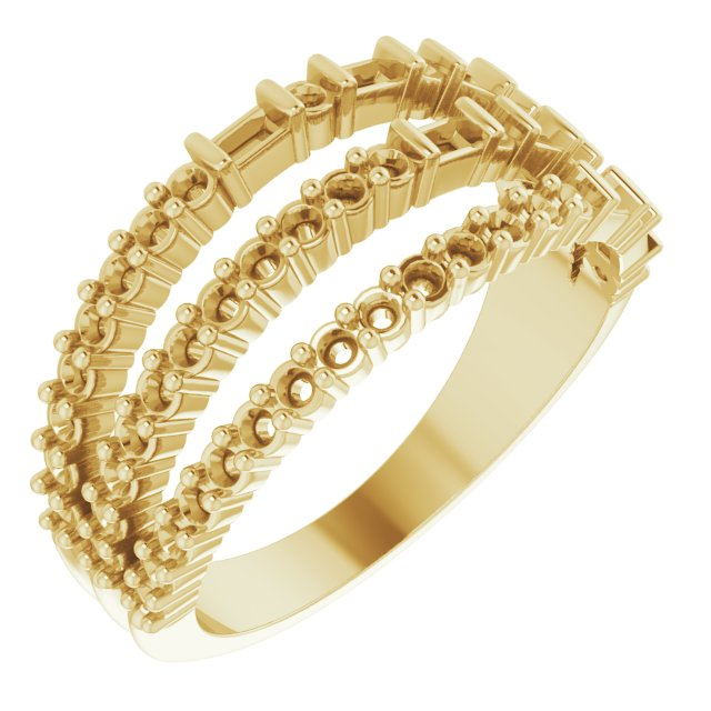 White Diamond Ring in 14 Karat Yellow Gold 7/8 Carat Diamond Stacked Ring