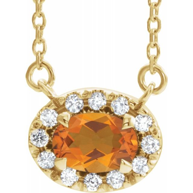 Golden Citrine Necklace in 14 Karat Yellow Gold 7x5 mm Oval Citrine & 1/6 Carat Diamond 18