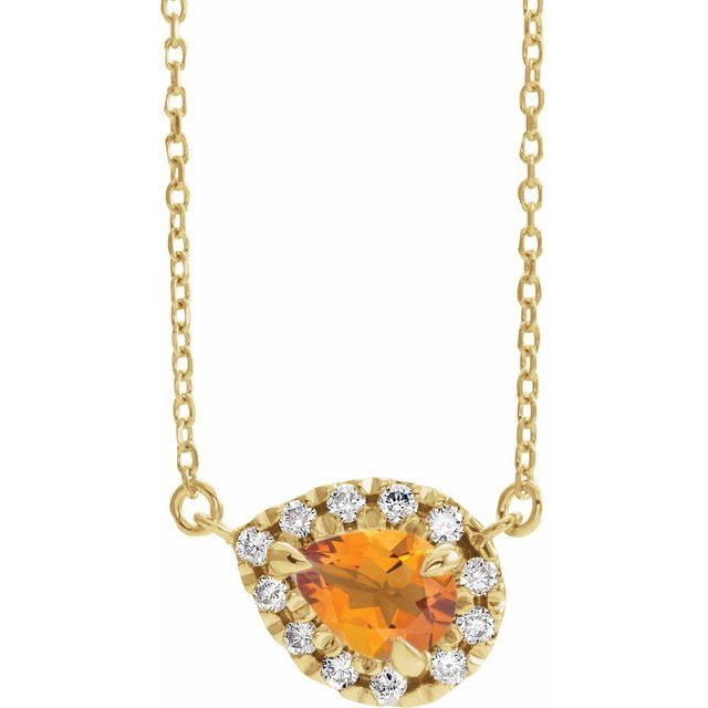 Golden Citrine Necklace in 14 Karat Yellow Gold 8x5 mm Pear Citrine & 1/5 Carat Diamond 16