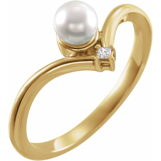 White Akoya Pearl Ring in 14 Karat Yellow Gold Akoya Cultured Pearl & .025 Carat Diamond Ring