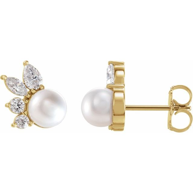 Cultured Akoya Pearl Earrings in 14 Karat Yellow Gold Akoya Cultured Pearl & .05 Carat Diamond Earrings