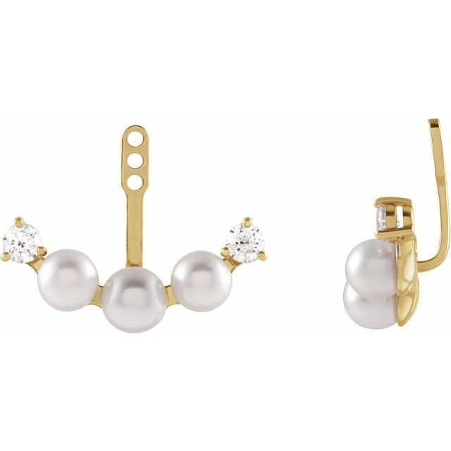 White Akoya Pearl Earrings in 14 Karat Yellow Gold Akoya Pearl & 1/4 Carat Diamond Earring Jackets