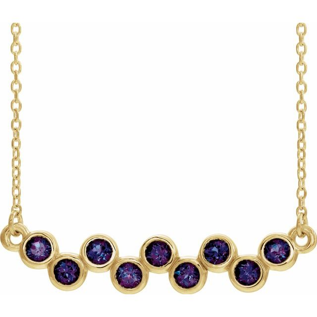 Genuine Alexandrite Necklace in 14 Karat Yellow Gold Alexandrite Bezel-Set Bar 16-18