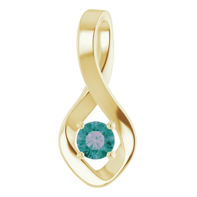 Color Change Created Alexandrite Pendant in 14 Karat Yellow Gold Alexandrite Pendant