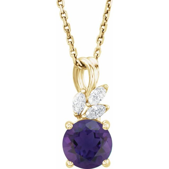 Genuine Amethyst Necklace in 14 Karat Yellow Gold Amethyst & 1/10 Carat Diamond 16-18