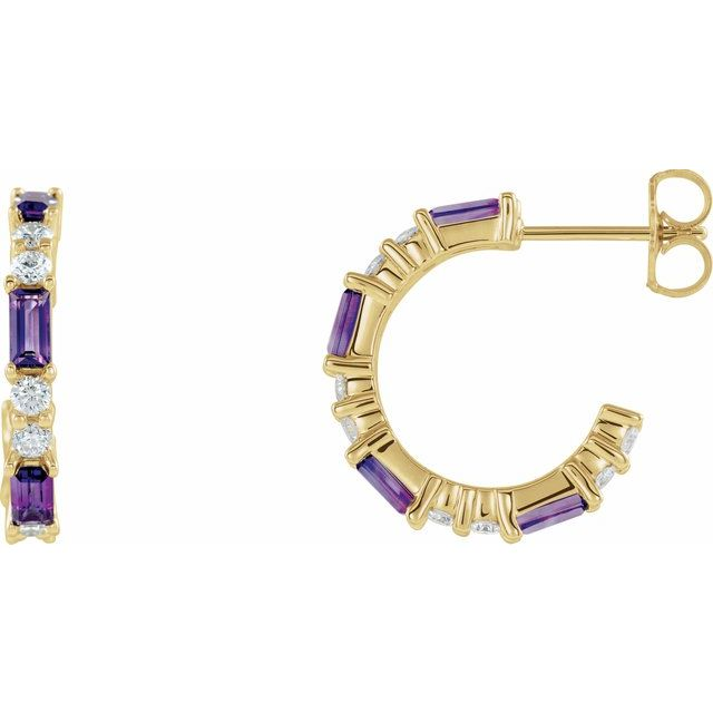 Genuine Amethyst Earrings in 14 Karat Yellow Gold Amethyst & 1/2 Carat Diamond Earrings