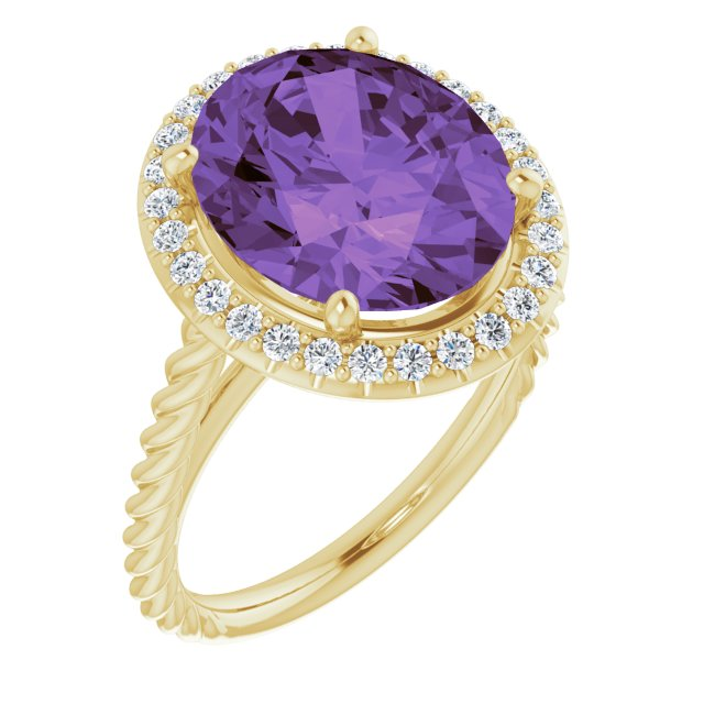 Genuine Amethyst Ring in 14 Karat Yellow Gold Amethyst & 1/4 Carat Diamond Ring