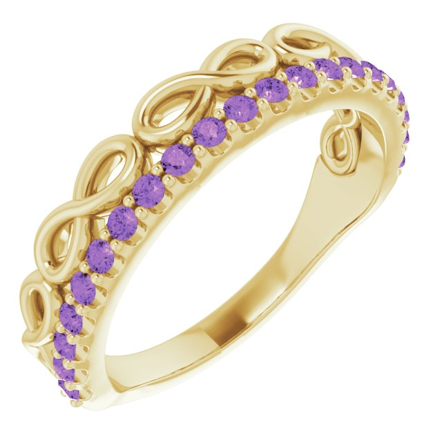 Genuine Amethyst Ring in 14 Karat Yellow Gold Amethyst Infinity-Inspired Stackable Ring