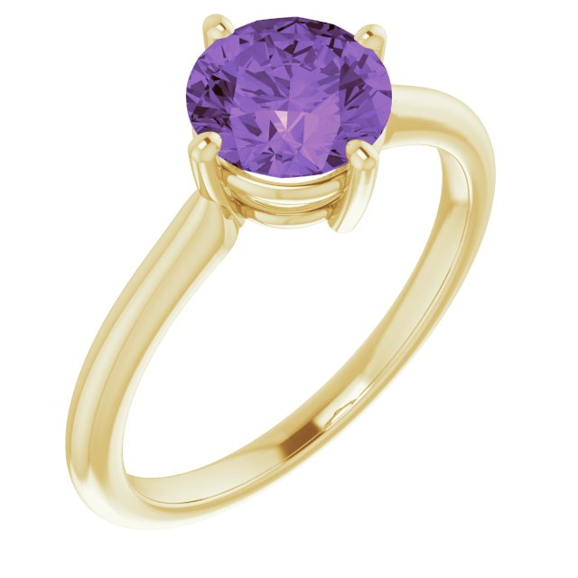 Genuine Amethyst Ring in 14 Karat Yellow Gold Amethyst Solitaire Ring