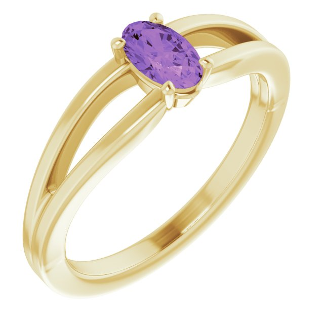 Genuine Amethyst Ring in 14 Karat Yellow Gold Amethyst Solitaire Youth Ring