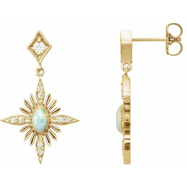 Fire Opal Earrings in 14 Karat Yellow Gold Australian Opal & 1/6 Carat Diamond Celestial Earrings