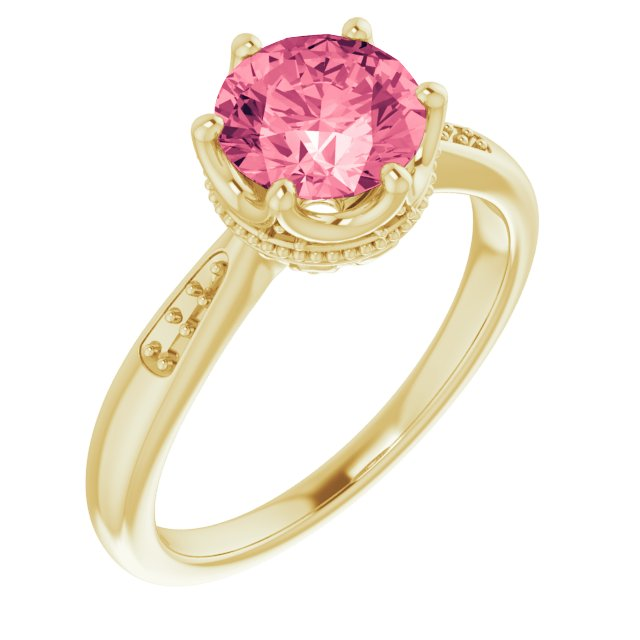 Genuine Topaz Ring in 14 Karat Yellow Gold Baby Pink Topaz & .06 Carat Diamond Ring
