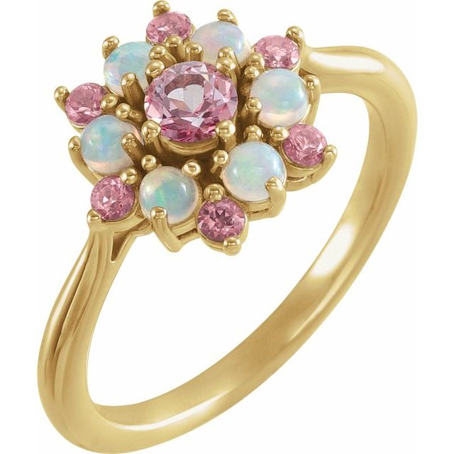 Genuine Topaz Ring in 14 Karat Yellow Gold Baby Pink Topaz & Ethiopian Opal Floral-Inspired Ring