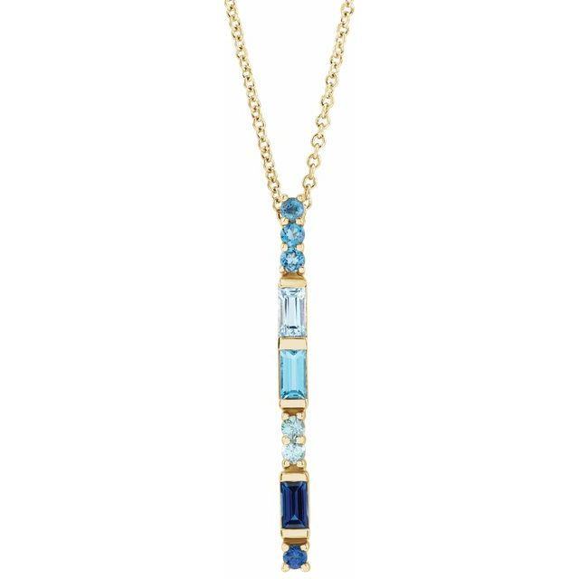Multi-Gemstone Necklace in 14 Karat Yellow Gold Genuine Multi-Gemstone Bar 16-18