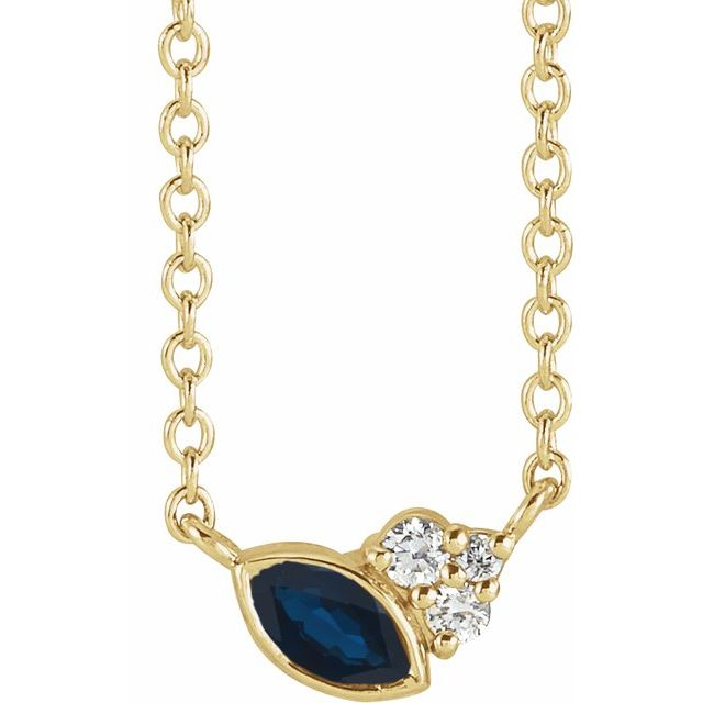 Genuine Sapphire Necklace in 14 Karat Yellow Gold Genuine Sapphire & .03 Carat Diamond 18