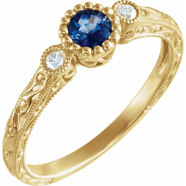Genuine Sapphire Ring in 14 Karat Yellow Gold Genuine Sapphire & .04 Carat Diamond Ring