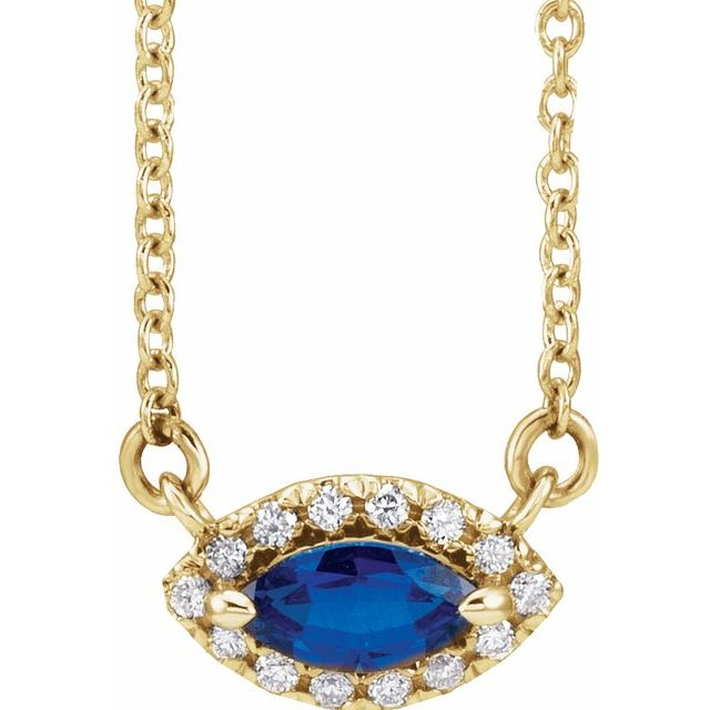 Genuine Sapphire Necklace in 14 Karat Yellow Gold Genuine Sapphire & .05 Carat Diamond Halo-Style 18