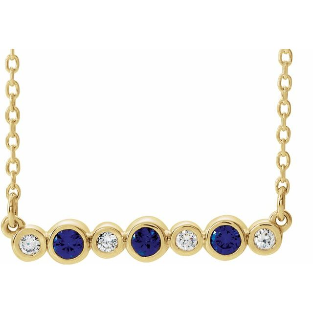 Genuine Sapphire Necklace in 14 Karat Yellow Gold Genuine Sapphire & .08 Carat Diamond Bezel-Set Bar 16-18