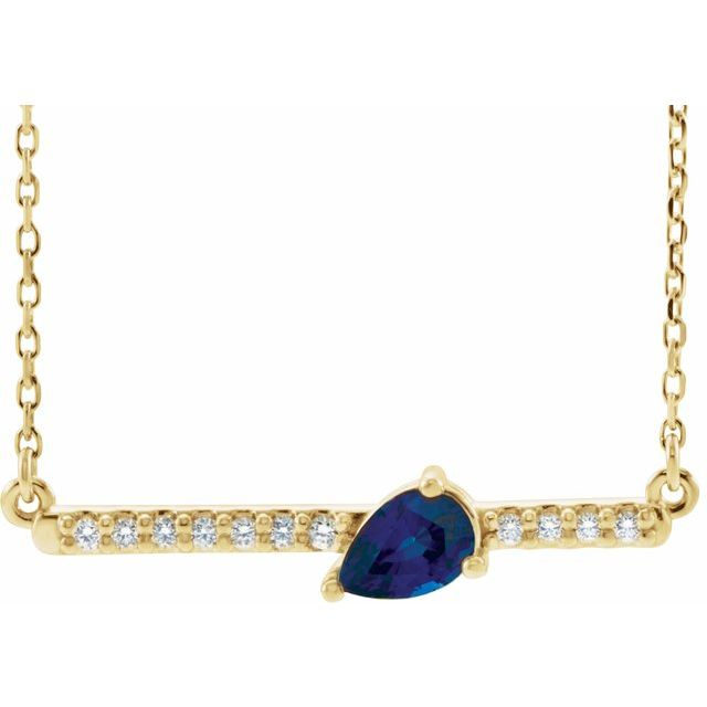 Genuine Sapphire Necklace in 14 Karat Yellow Gold Genuine Sapphire & 1/10 Carat Diamond 16