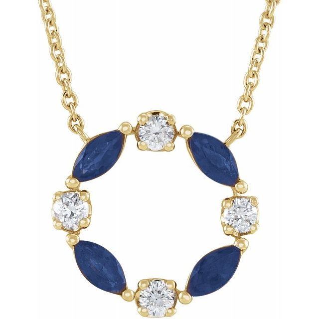 Genuine Sapphire Necklace in 14 Karat Yellow Gold Genuine Sapphire & 1/10 Carat Diamond Circle 18