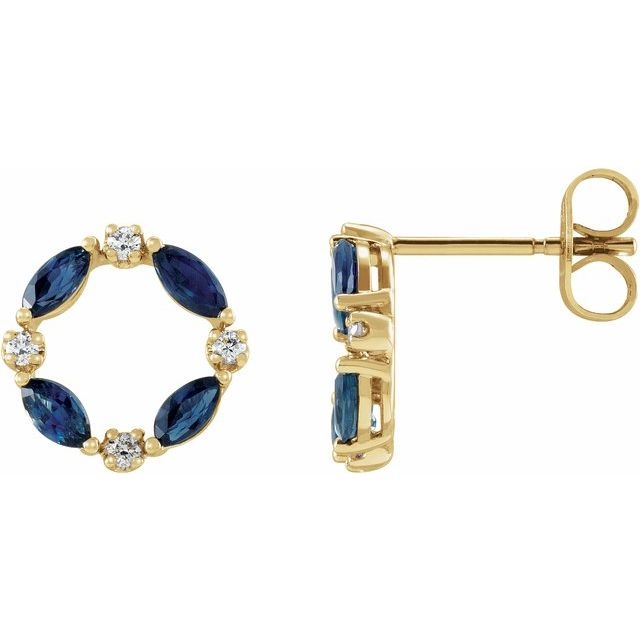 Genuine Sapphire Earrings in 14 Karat Yellow Gold Genuine Sapphire & 1/10 Carat Diamond Circle Earrings