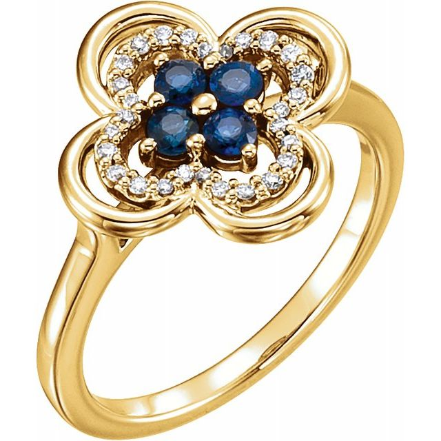 Genuine Sapphire Ring in 14 Karat Yellow Gold Genuine Sapphire & 1/10 Carat Diamond Ring