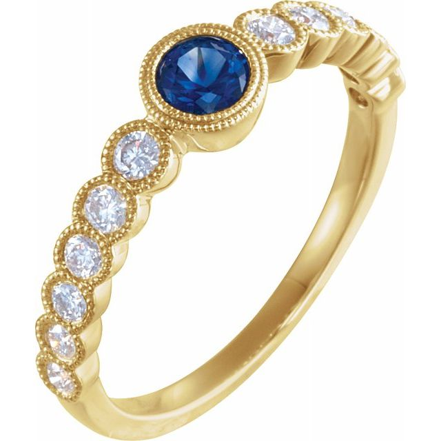 Genuine Sapphire Ring in 14 Karat Yellow Gold Genuine Sapphire & 1/2 Carat Diamond Ring