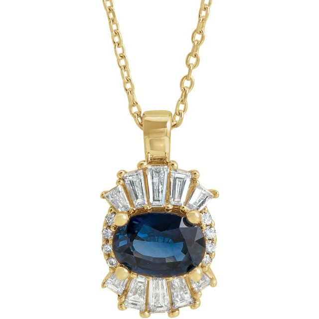 Genuine Sapphire Necklace in 14 Karat Yellow Gold Genuine Sapphire & 1/3 Carat Diamond 16-18