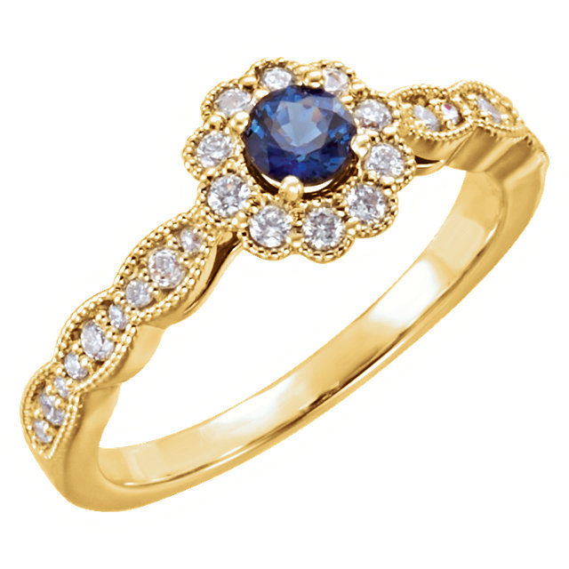 Easy Gift in 14 Karat Yellow Gold Blue Sapphire & 0.33 Carat Total Weight Diamond Ring