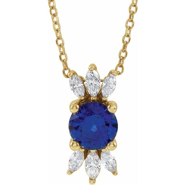 Genuine Sapphire Necklace in 14 Karat Yellow Gold Genuine Sapphire & 1/4 Carat Diamond 16-18