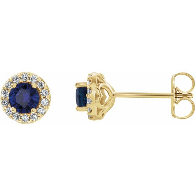 Genuine Sapphire Earrings in 14 Karat Yellow Gold Genuine Sapphire & 1/4 Carat Diamond Earrings